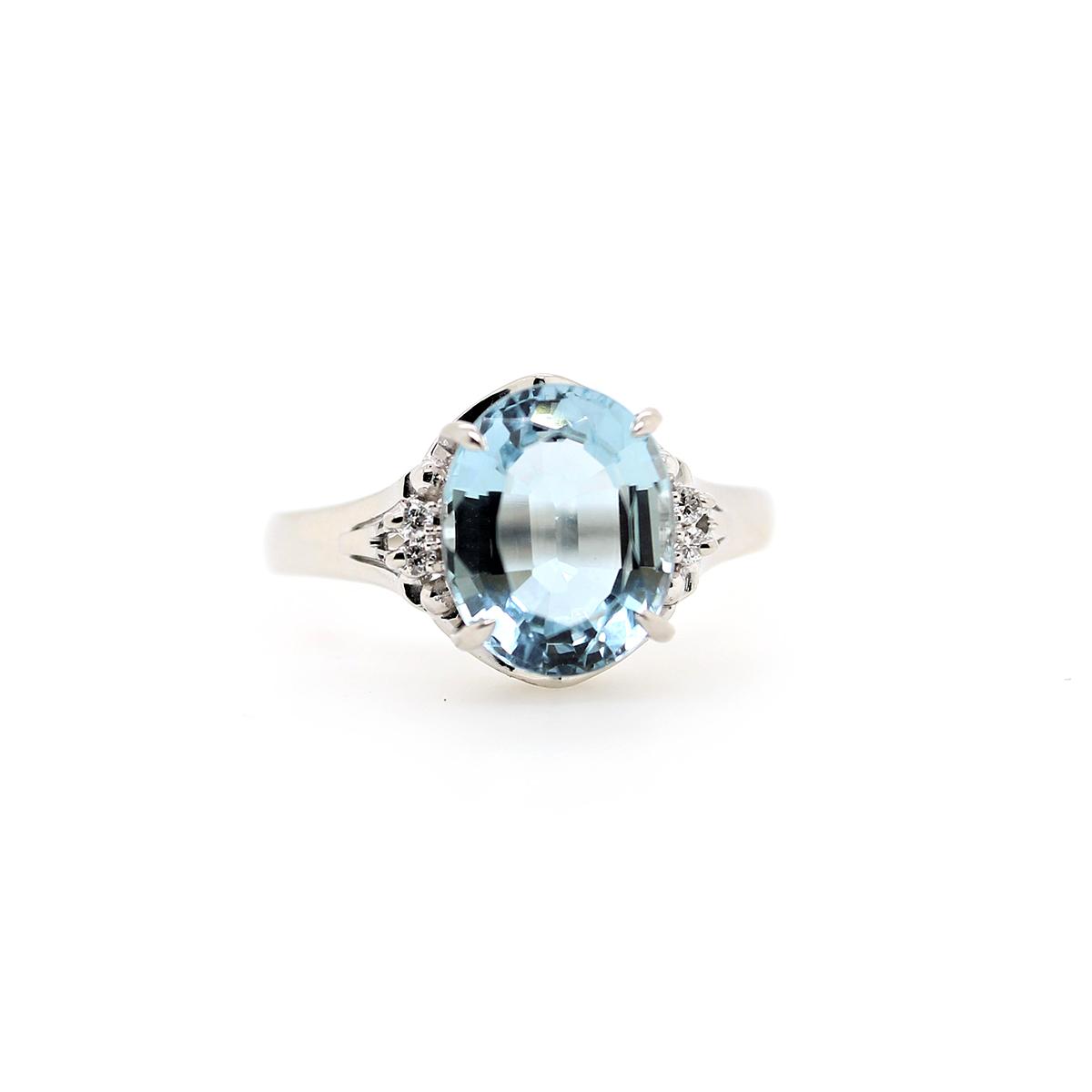 Vintage Platinum Aquamarine and Diamond Ring