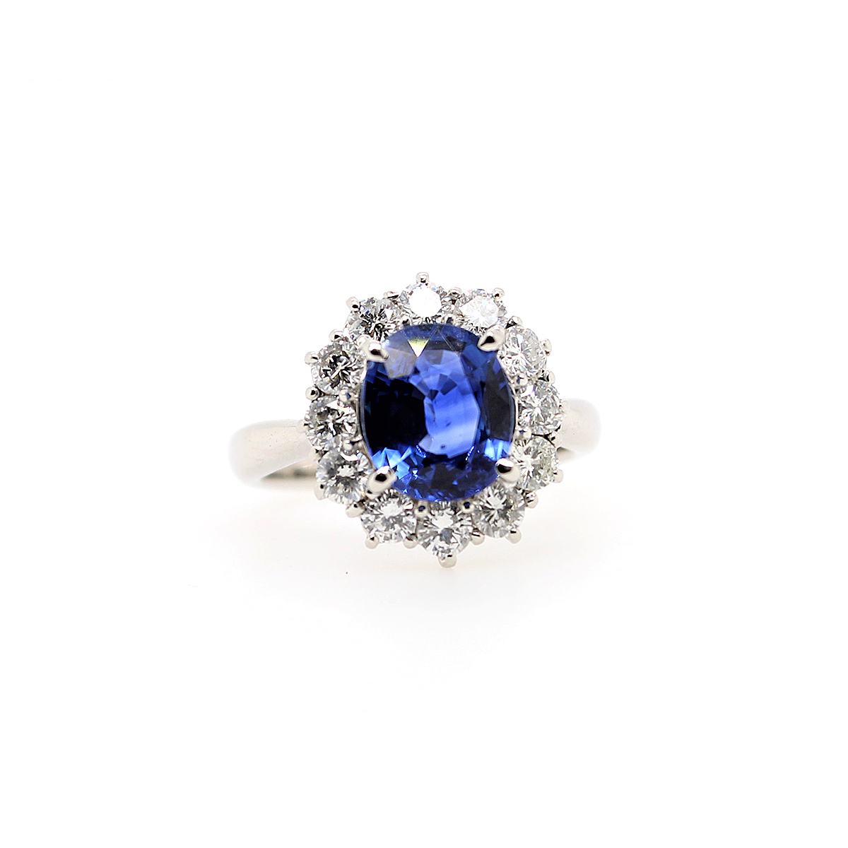 Vintage Platinum Oval Sapphire and Diamond Ring