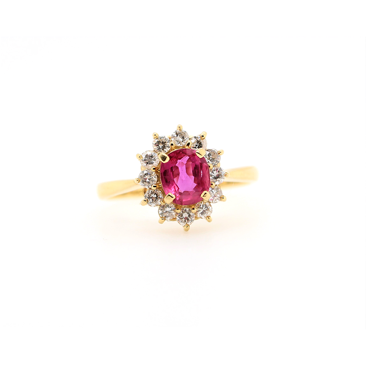 Vintage 18 Karat Yellow Gold Oval Ruby and Diamond Ring