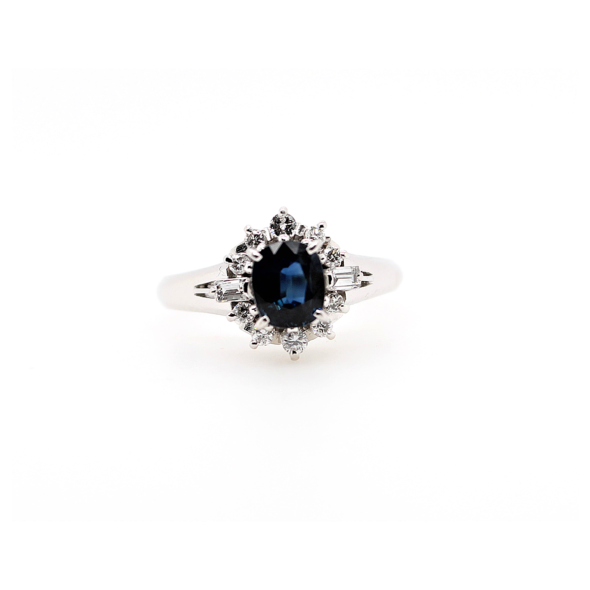Vintage Platinum Oval Blue Sapphire and Diamond Ring