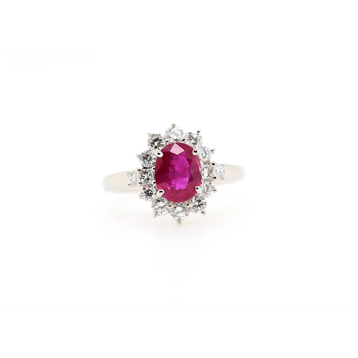 Vintage Platinum Oval Ruby and Diamond Ring