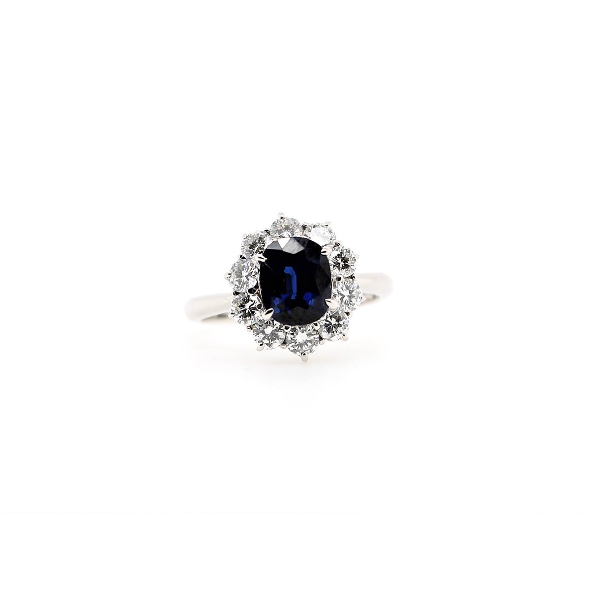Vintage Platinum Oval Blue Sapphire and Diamond Ring