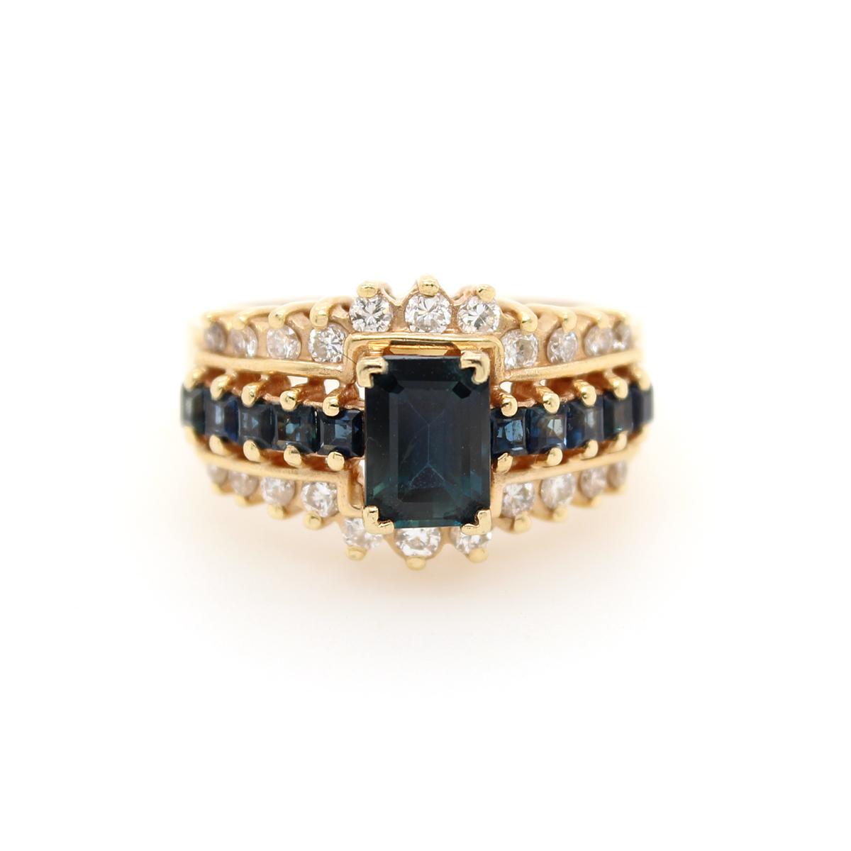 Vintage 14 Karat Yellow Gold Blue Sapphire and Diamond Ring
