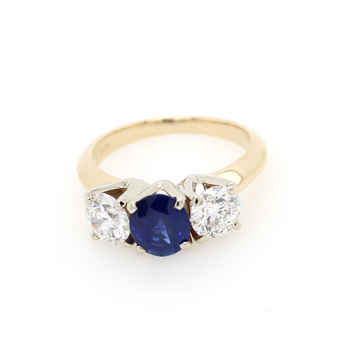 Vintage 14 Karat Yellow Gold Sapphire and Diamond Ring