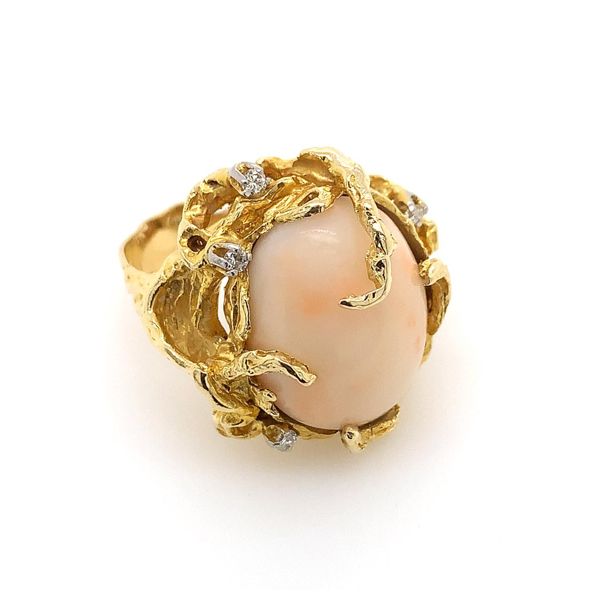 Vintage 14 Karat Yellow Gold Angel Skin Coral and Diamond Ring