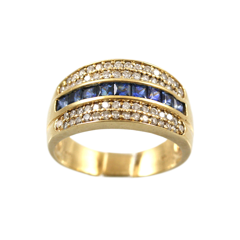 This Unique 14 Karat Yellow Gold Diamond And Sapphire Wide Band Makes A Strong Statement.
