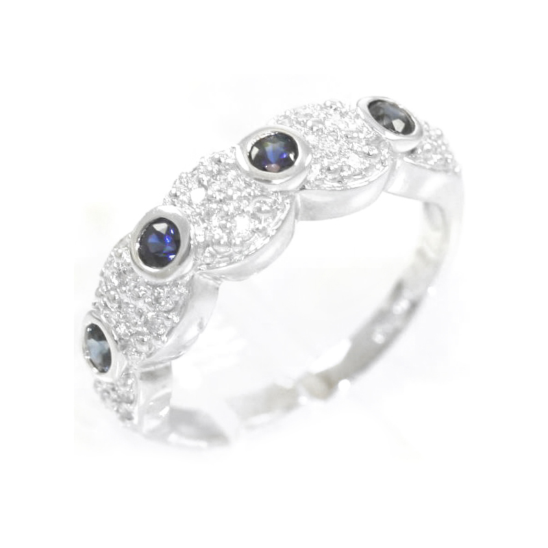 Estate 14 Karat white gold, diamond and sapphire band.