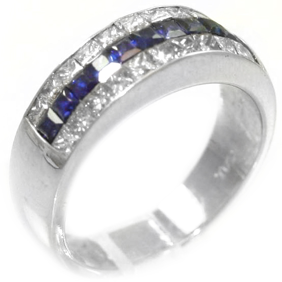 Vintage Platinum Sapphire and Diamond Three Row Band
