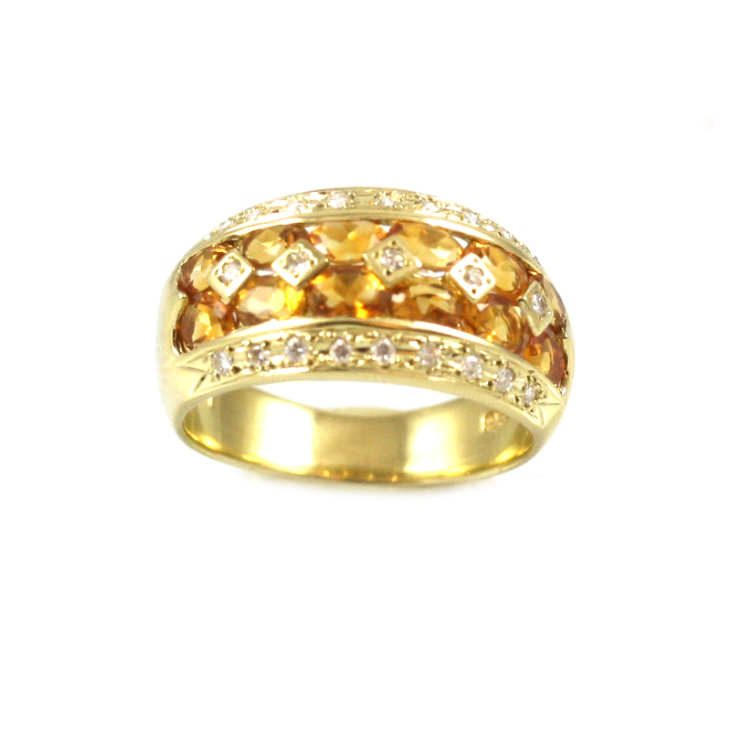 Estate 18 Karat yellow gold , citrine and diamond band.