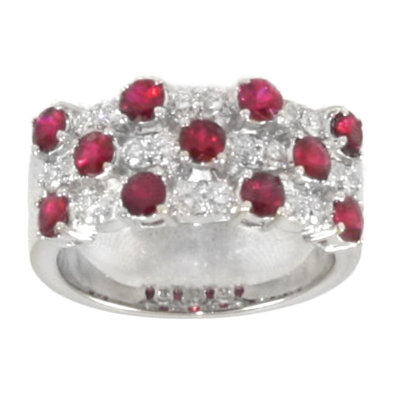 Vintage 18 Karat white gold ruby and diamond band.
