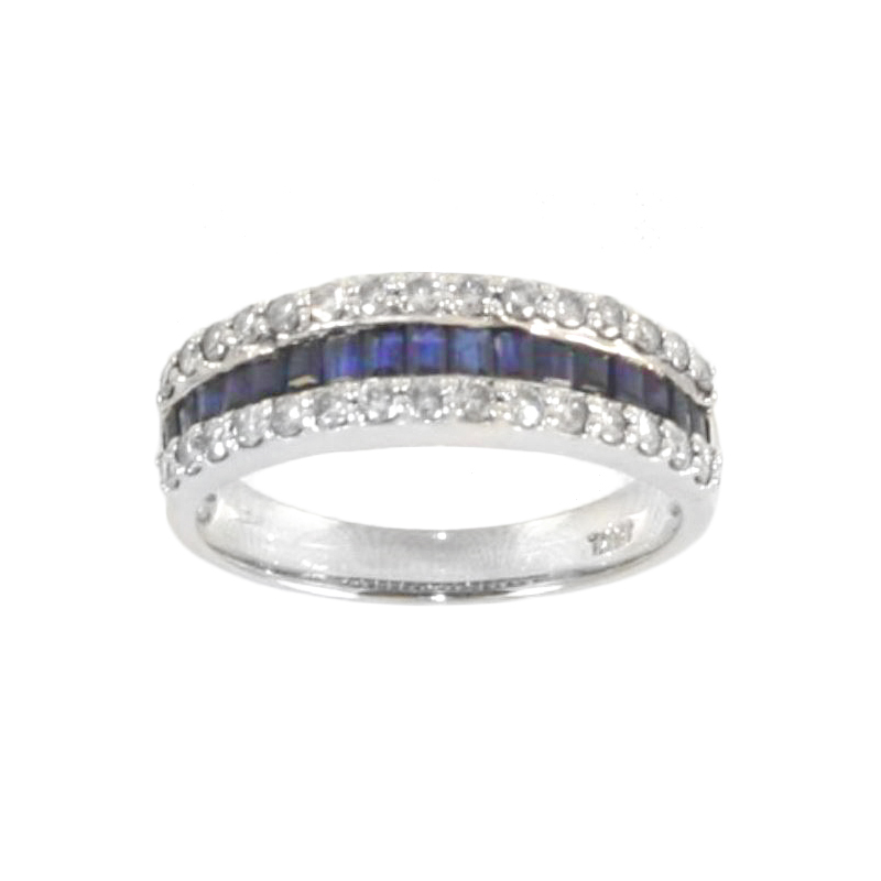 Estate 18 Karat white gold, blue sapphire and diamond band.