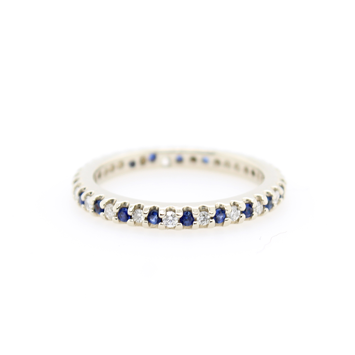 Vintage 14 Karat White Sapphire and Diamond Eternity Band
