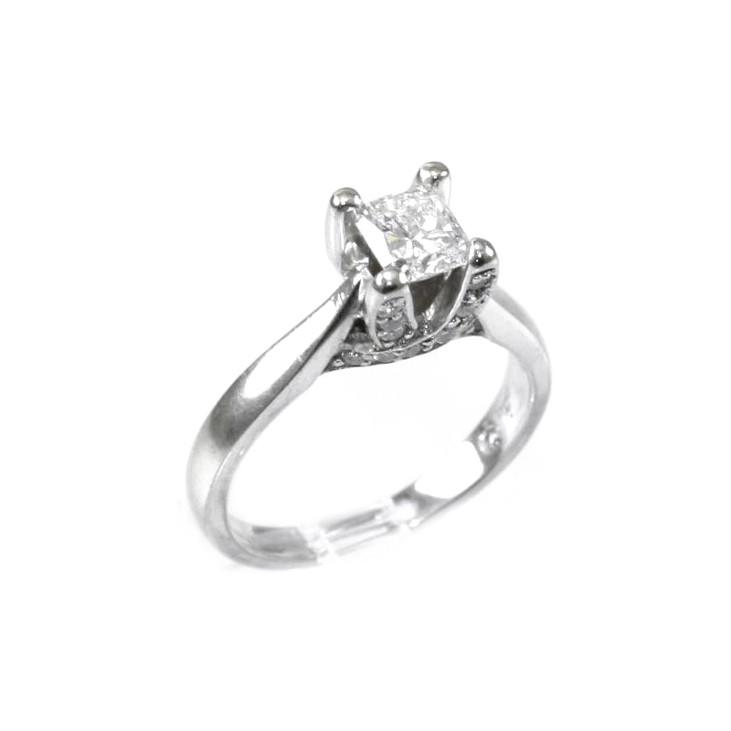 Estate 18 Karat white gold and diamond ring.