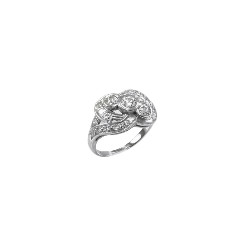 Estate 14 Karat white gold and diamond ring.