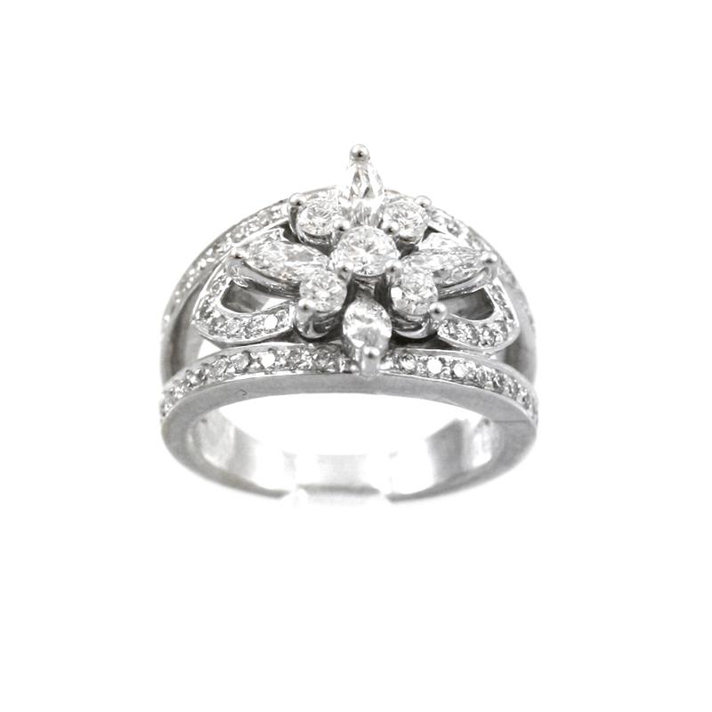 Enchanting 14 Karat White Gold Diamond Ring.