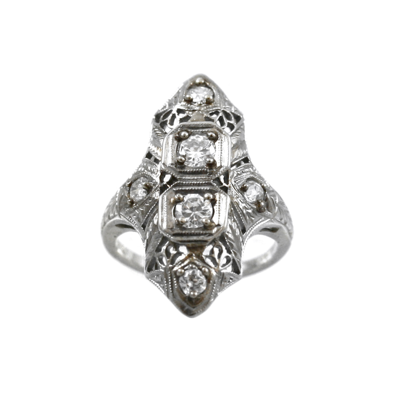 18 Karat White Gold Diamond Filigree Marquise Shaped Ring.