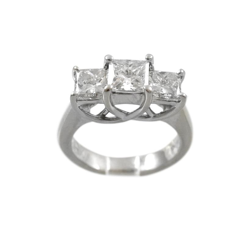 14 Karat White Gold Three-Across Diamond Ring.