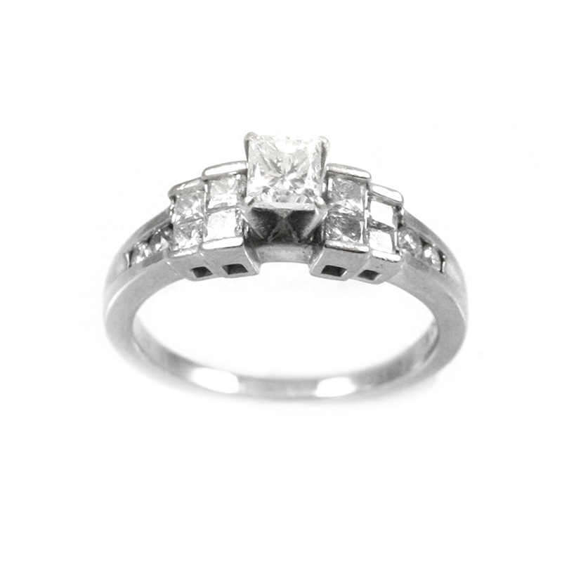 Vintage 18 Karat white gold and diamond ring.