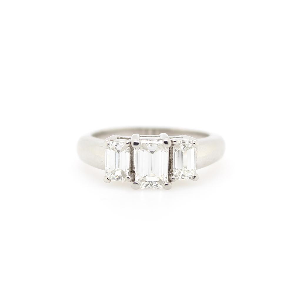 Vintage Platinum Three Across Diamond Ring