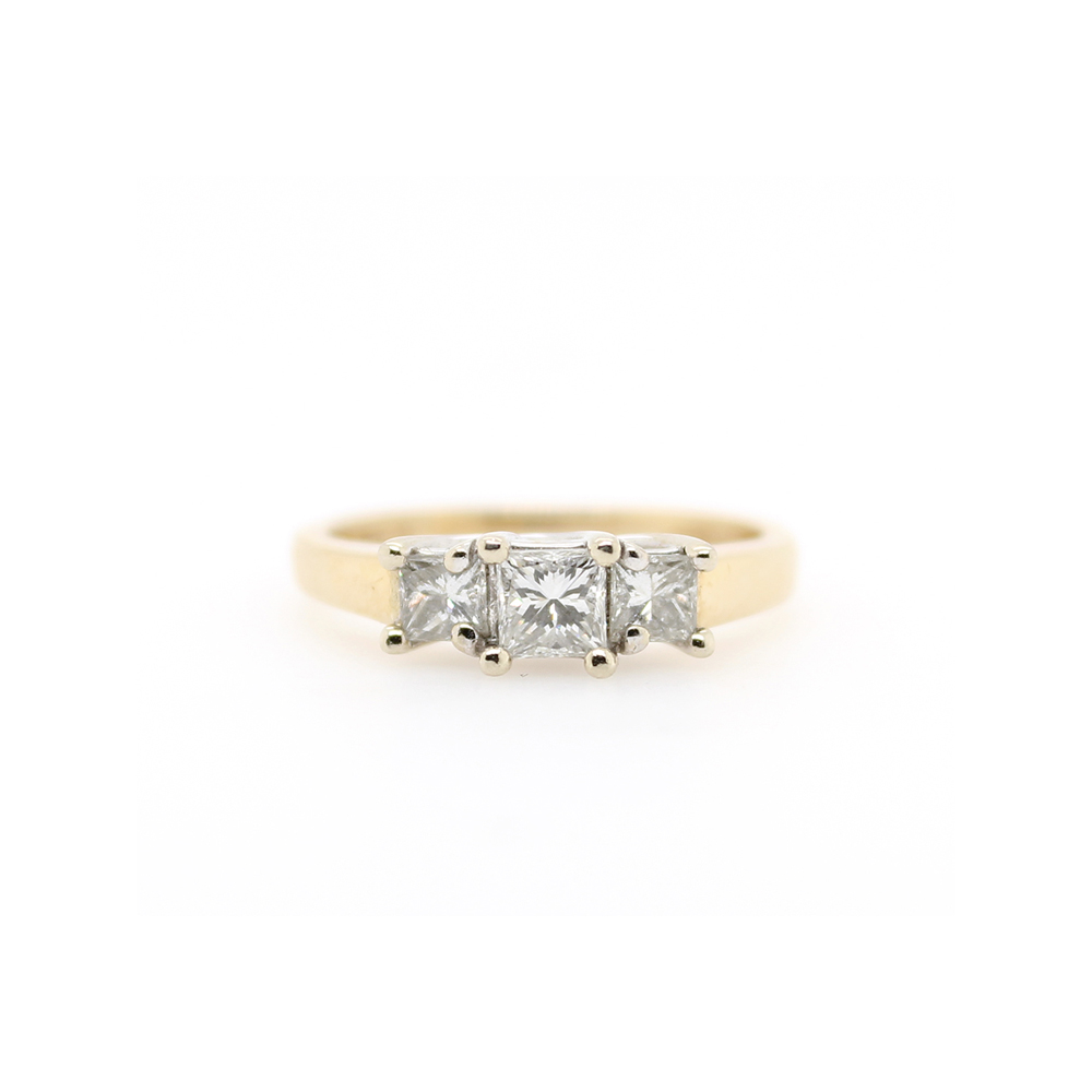 Estate 14 Karat Yellow and White Gold Three Across Diamond Ring