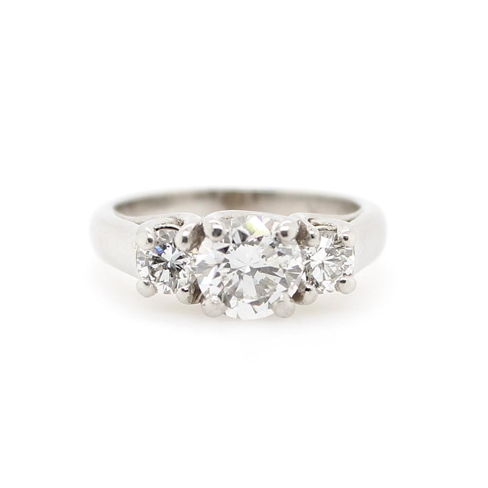 Estate 14 Platinum Three Across Diamond Ring