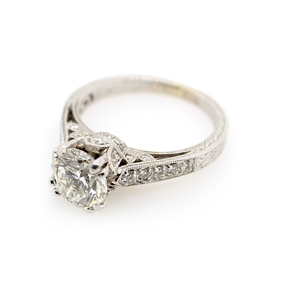 Estate 18 Karat White Gold Diamond Bridal Ring