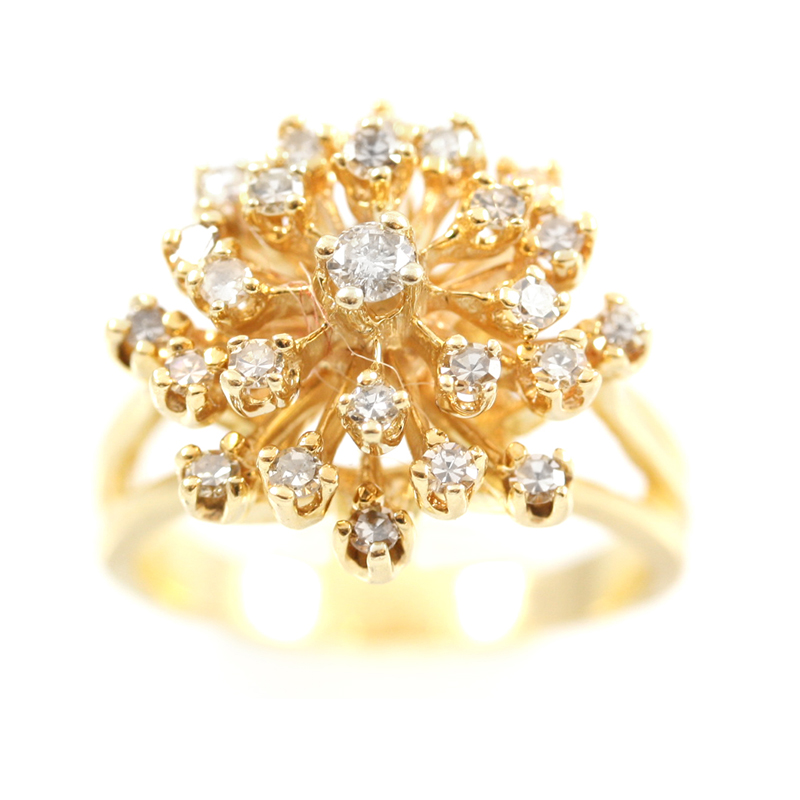 Vintage 14 karat yellow gold, diamond cluster ring.