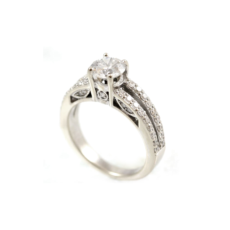 Vintage 14 Karat White Gold Diamond Ring