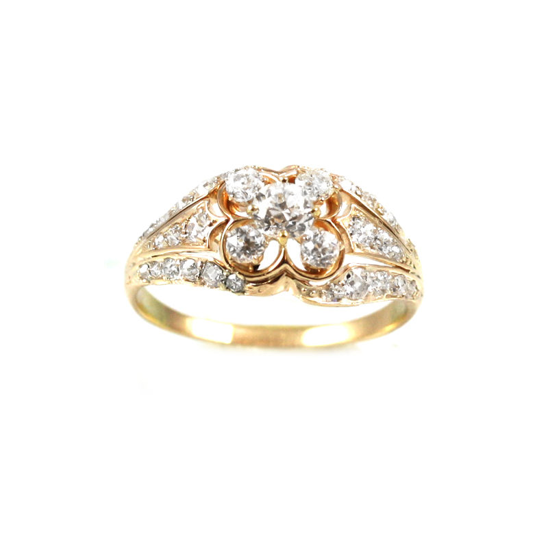 Estate 14 Karat yellow gold and diamond ring.
