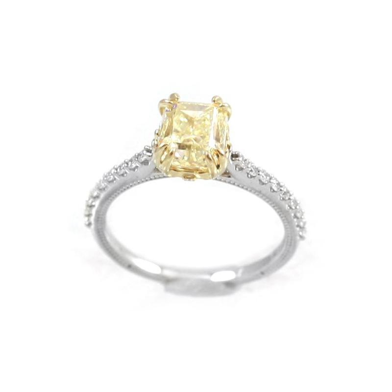 Vintage 14 Karat Yellow and White Gold Diamond Ring