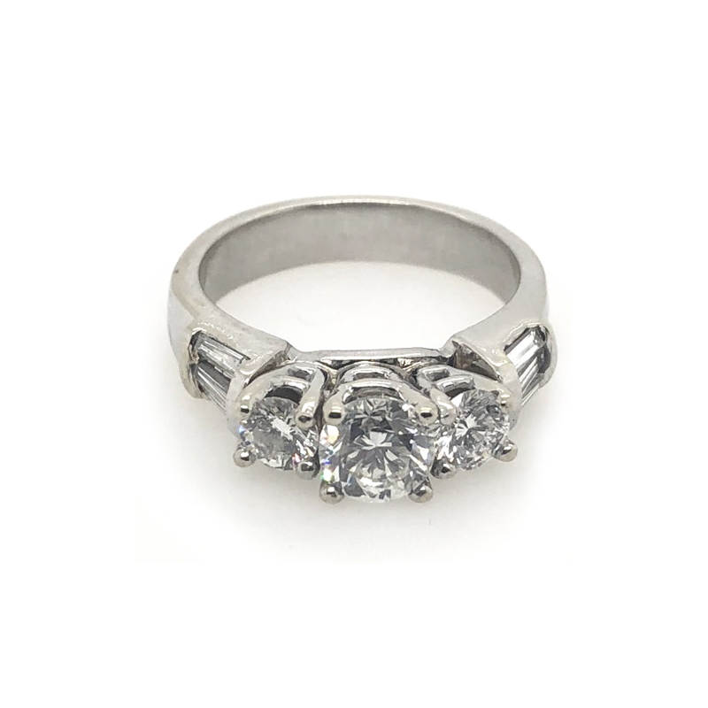 Vintage 14 Karat White Gold Three Across Diamond Ring