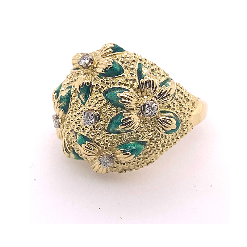 Vintage 18 Karat yellow gold diamond floral bead accent dome ring