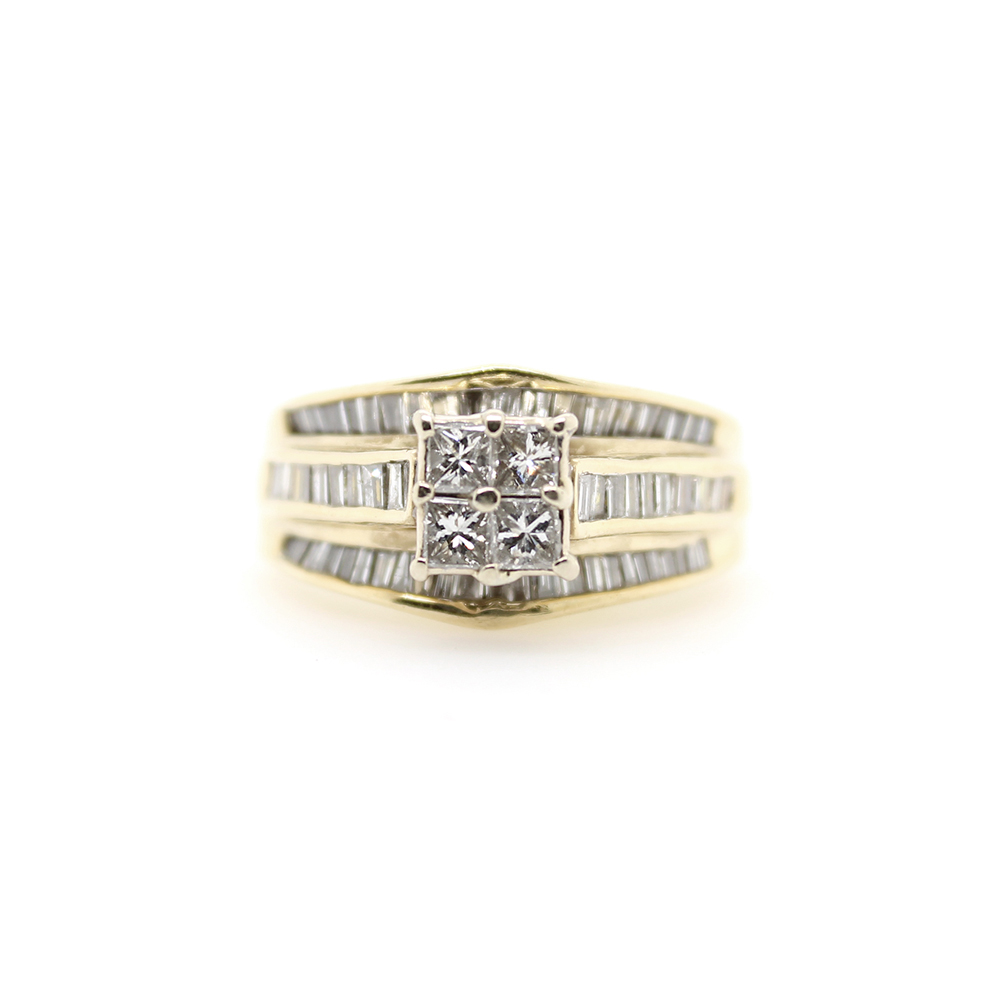 Estate 14 Karat Yellow Gold Diamond Bridal Ring