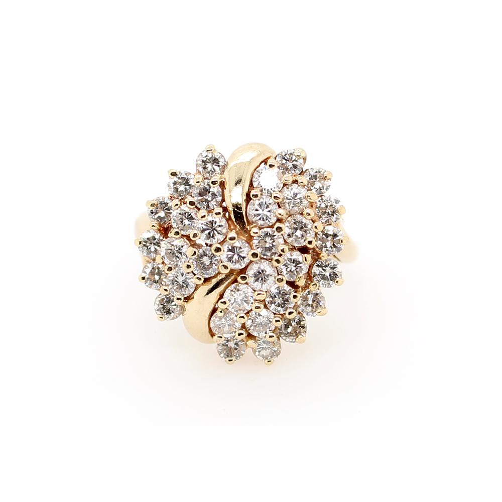 Vintage 14 Karat Yellow Gold Diamond Cluster Ring