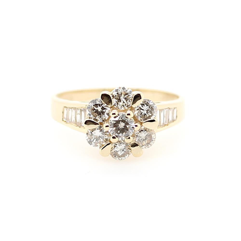 Vintage 14 Karat Yellow Gold Diamond Flower Ring