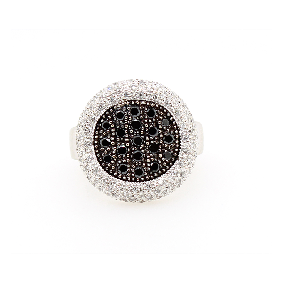 Vintage 14 Karat White Gold Black and White Diamond Pave Ring