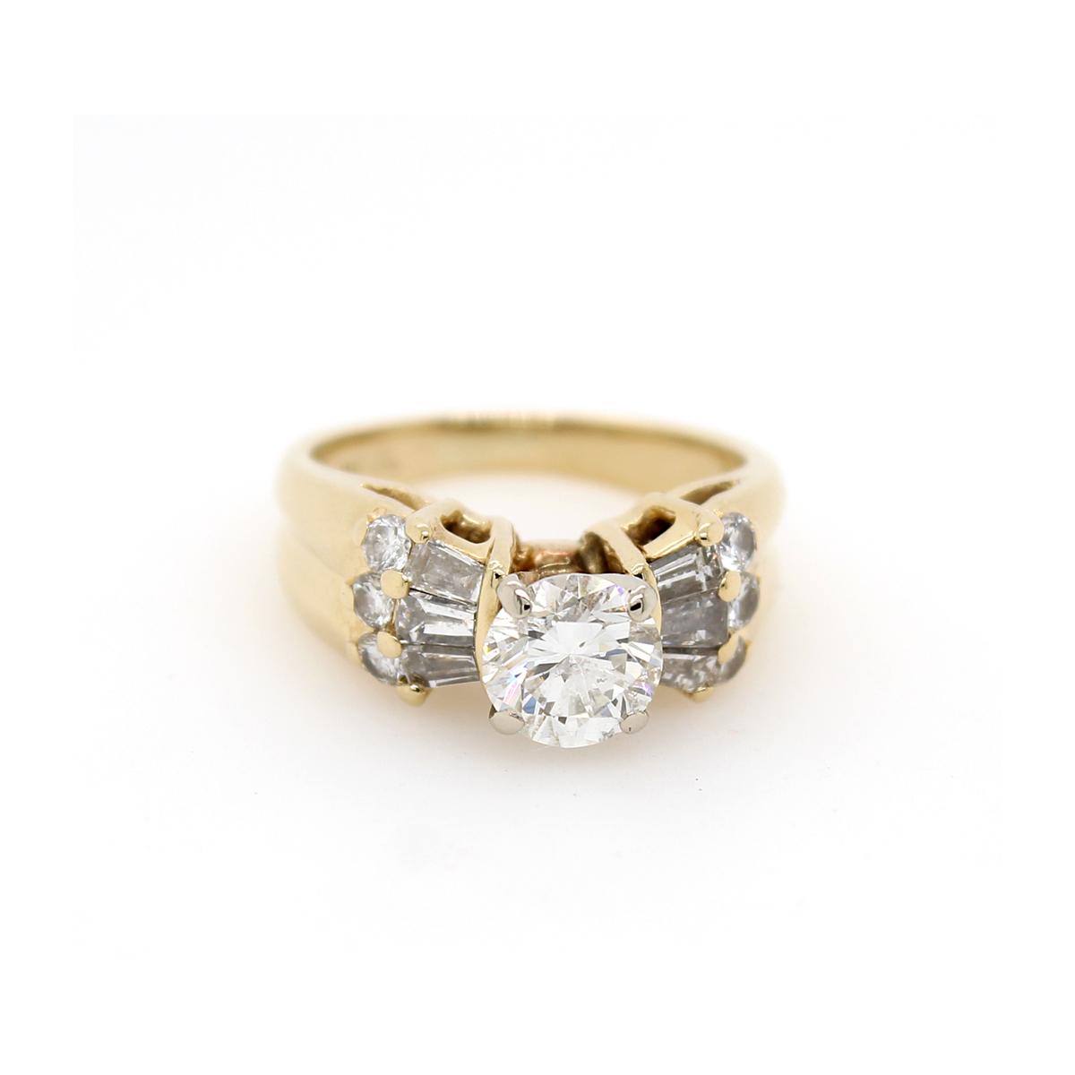 Vintage 14 Karat Yellow Gold Diamond Fashion Ring