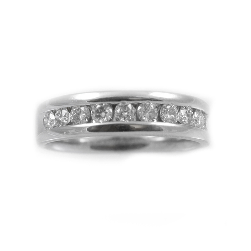 Vintage 14 Karat white gold diamond wedding band.