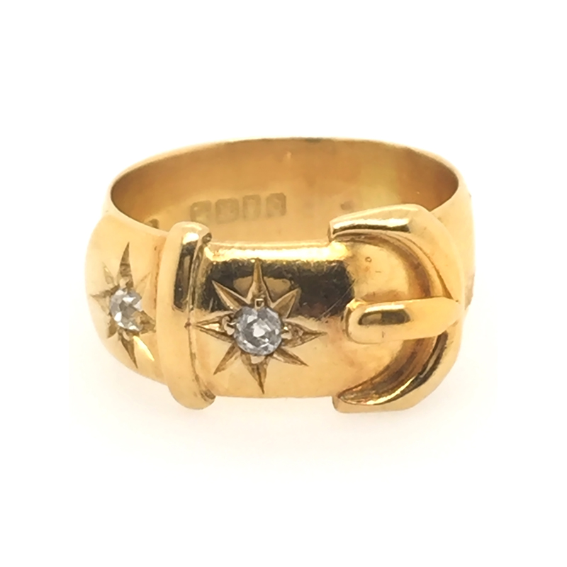 Estate 18 Karat yellow gold, old mine cut diamond buckle ring