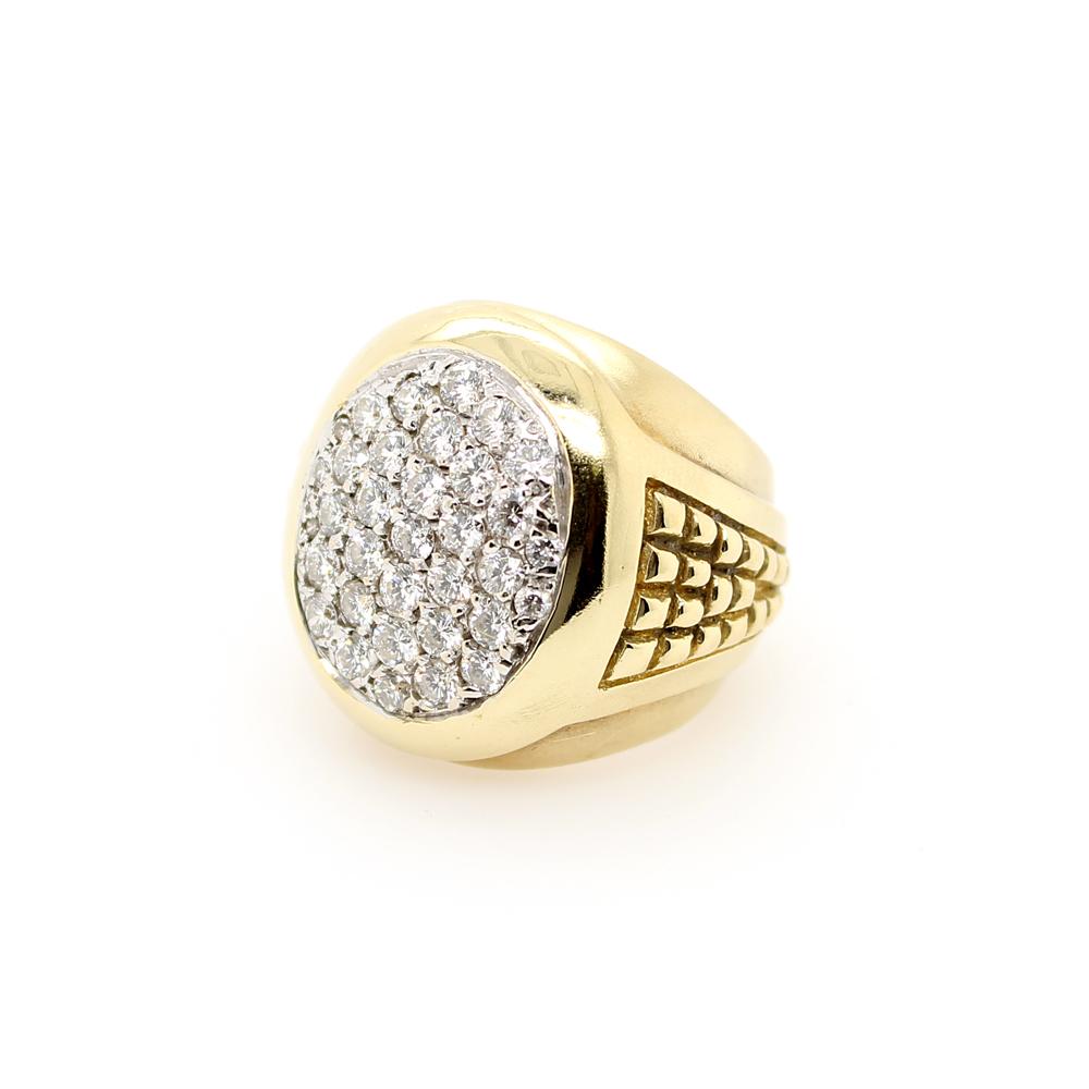 Vintage 18 Karat Yellow Gold Oval Pave Diamond Ring