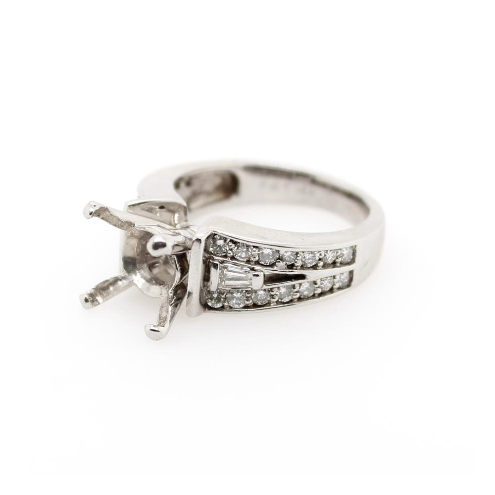 Vintage 14 Karat White Gold Diamond Semi Mount Ring