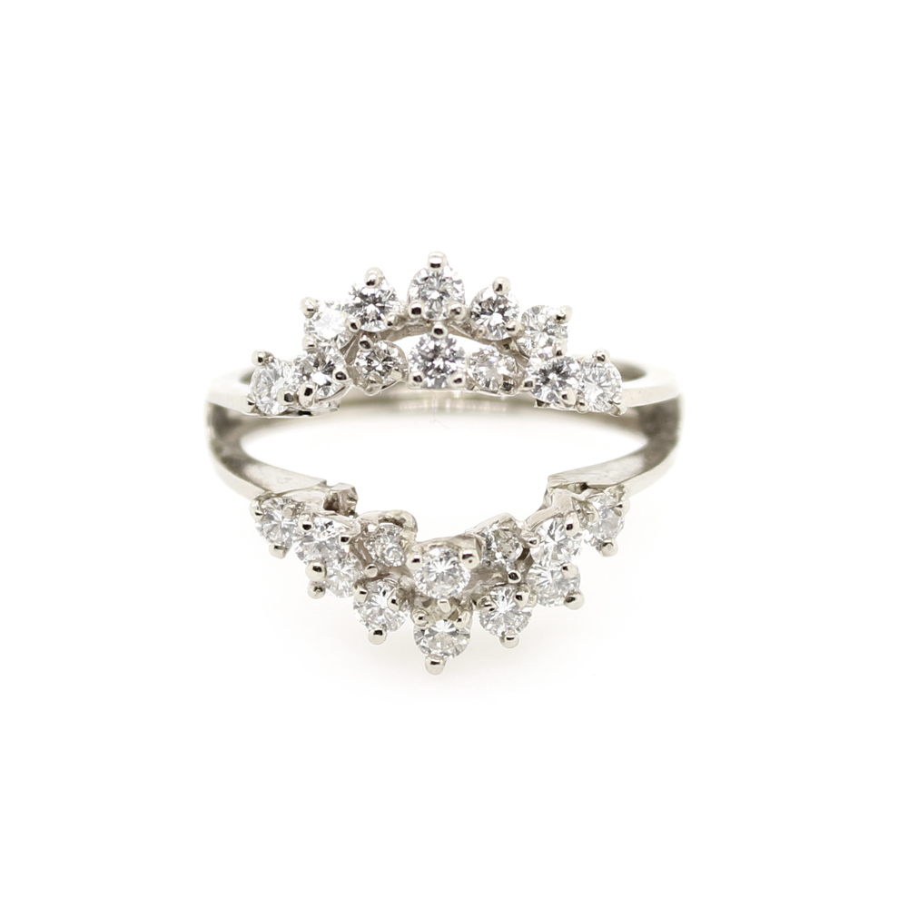 Vintage 14 Karat White Gold Diamond Wrap Ring