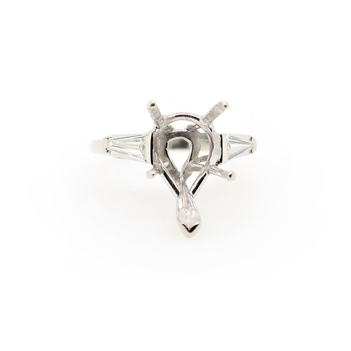 Vintage Platinum Pear Shaped Semi-Mount Ring