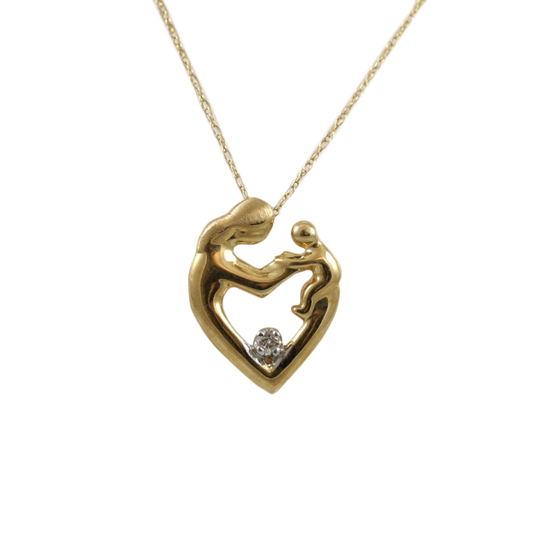 Ladys 14 Karat Yellow Gold Mother And Child Heart Shaped Diamond Pendant Suspended On A 20 Inch Curb Link Chain With Spring Ring Clasp.