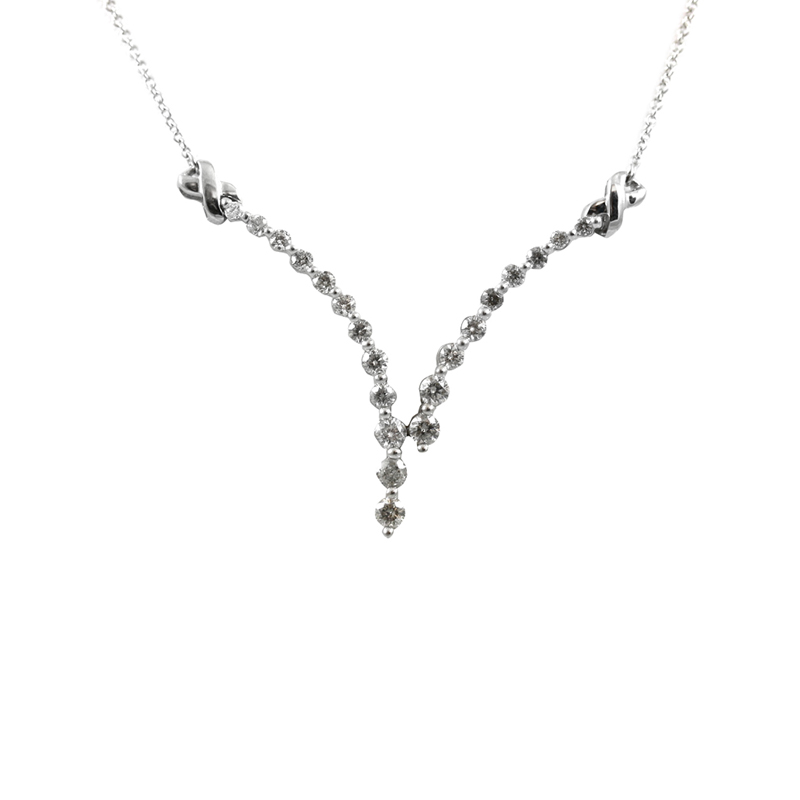 Very Pretty Ladys 14 Karat Diamond Necklace.
