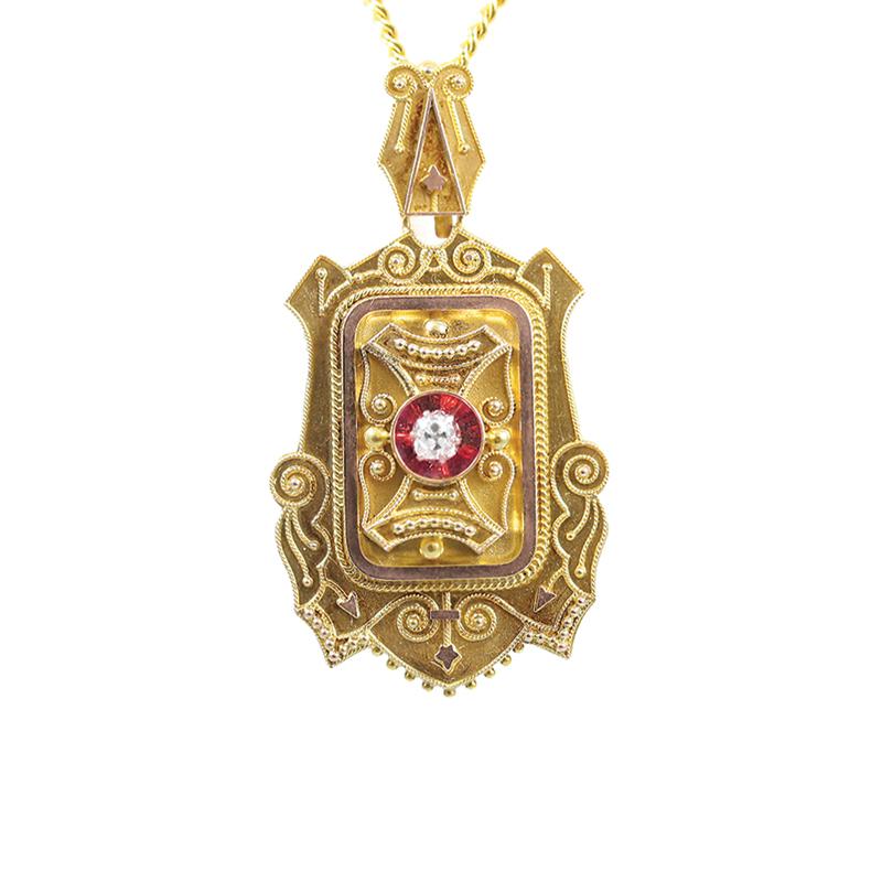 Vintage 18 Karat white gold, 22 karat yellow gold plating and rose cut diamond Victorian locket.