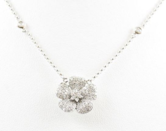 Vintage 14 Karat White Gold Diamond Flower Pendant Necklace