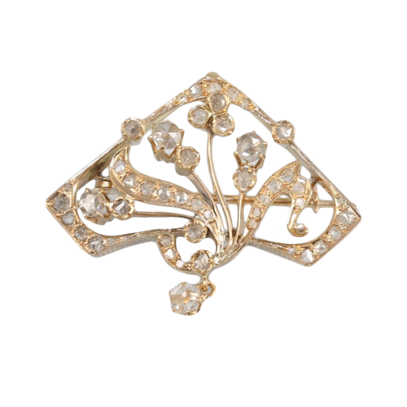 Vintage 14 Karat rose gold and diamond pin/pendant.