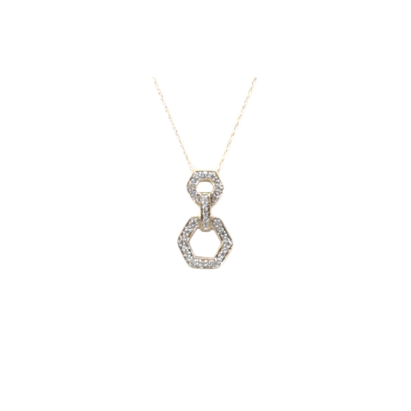 "Vintage 14 Karat yellow gold and diamond hexagonal pendant on an 18"" wheat chain."