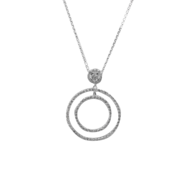Estate 14 Karat white gold and diamond circle pendant on an 18